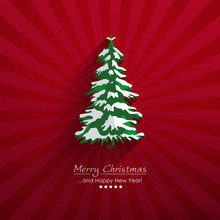 Abstract Christmas Fir Tree On Red Beam Background