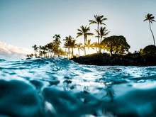Beautiful Tropical Island Paradise Photo From Swimming In Clear Aqua Blue Ocean Water With Colorful Sky And Orange Clouds At Sunrise With Sun Rays Coming Through Bright Green Palm Trees In Maui Hawaii