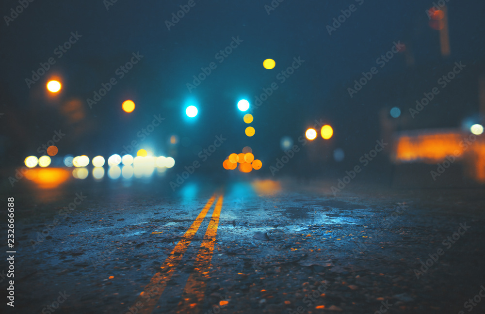 Fototapety, obrazy: City street on rainy night