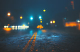 City street on rainy night