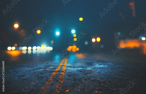 City street on rainy night