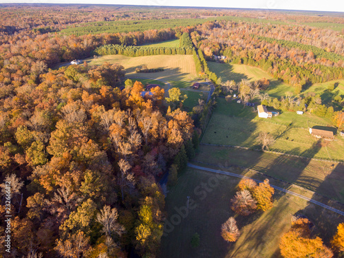 Fotografie, Obraz  Aerial View of Farm Land in the Fall