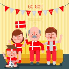 Happy Family Cheering Sport With National Flag : Denmark : Vector Illustration