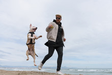 Man Playing Ball With Jumping Dog