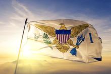 Virgin Islands US United States American Flag Textile Cloth Fabric Waving On The Top Sunrise Mist Fog