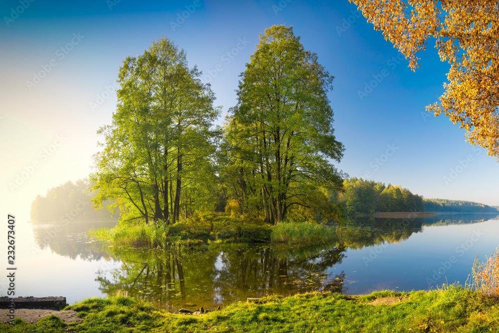 quiet Masurian lake in autumn. Poland.