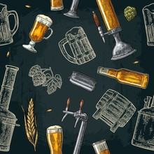 Seamless Pattern Beer Tap, Class, Can, Bottle And Hop.