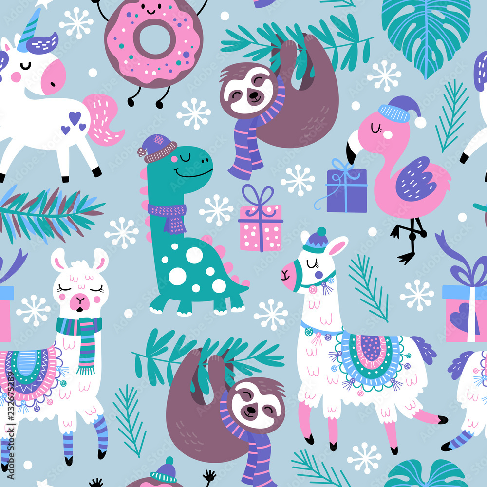 Seamless pattern for Christmas holiday with animals.