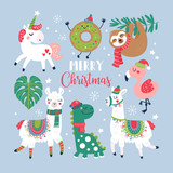 Fototapeta Dinusie - Christmas holiday cute elements set.