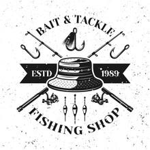 Fishing Shop Vector Emblem With Fisherman Hat