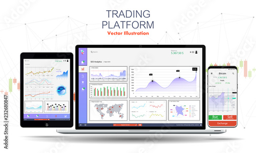 Fototapeta Trade exchange app on phone screen,laptop and tablet. Trading platform web site template. Binary Option. Mobile banking cryptocurrency ui. Online stock trading interface vector. Dashboard UI/UX app obraz