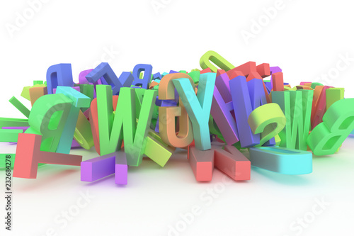 Fotografía  Background abstract CGI typography, letter of ABC, alphabet good for design
