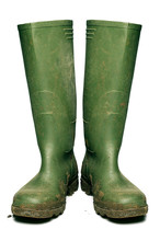 Wellington Boots Covered In Mud, Cut Out