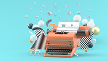 Orange Typewriter Surrounded B...