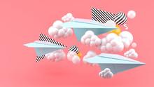 Blue Paper Airplane Amid Cloud...