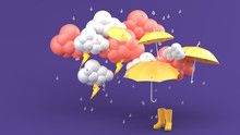Umbrellas And Yellow Boots Amidst A Rainstorm On A Purple Background.-3d Render..