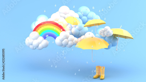 Fotografia Umbrellas and yellow boots amid rainstorms and rainbows on a blue bachground