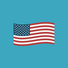 United States Flag Icon In Flat Design