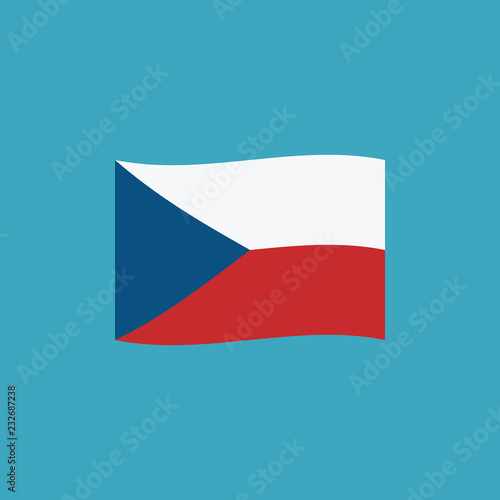 Photo  Czech Republic flag icon in flat design