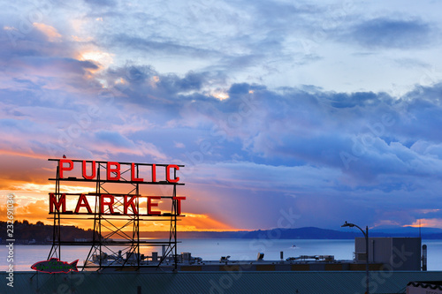 Obraz The Pike Place Market  in central Seattle waterfront after sunset. The market is one of most popular tourist place. - fototapety do salonu