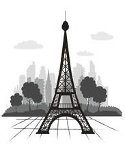 Eiffel Tower Silhouette In Cityscape