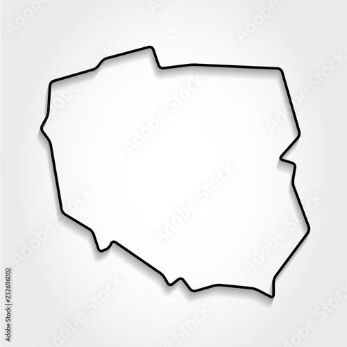 Polska, czarna mapa konturowa