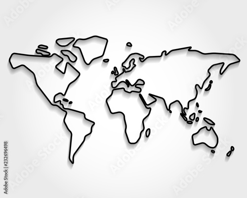 Fototapeta World, black outline map obraz