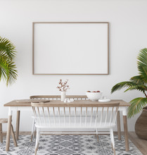 Mock-up Poster In Tropical Living Room Background, Scandi-boho Style, 3d Render