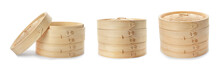 Set With Bamboo Steamer On Whi...