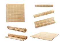 Set With Bamboo Mat On White Background