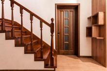 Modern Brown Oak Wooden Stairs...