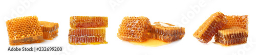 Photo Set with sweet honeycomb pieces on white background