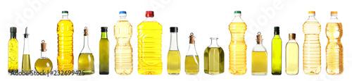 Fototapeta Set with different bottles of oil on white background obraz