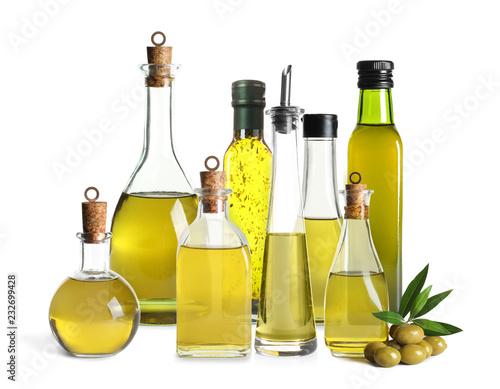 Fototapeta Set with olive oil bottles on white background obraz