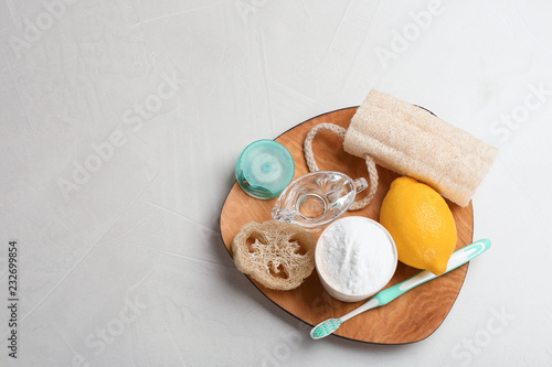 Flat lay composition with baking soda and space for text on table