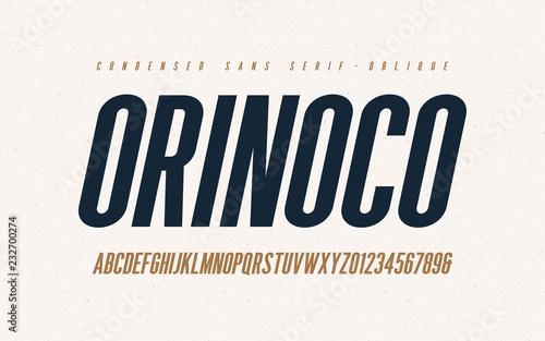Fotografia Orinoko condensed oblique san serif vector font, alphabet, typeface