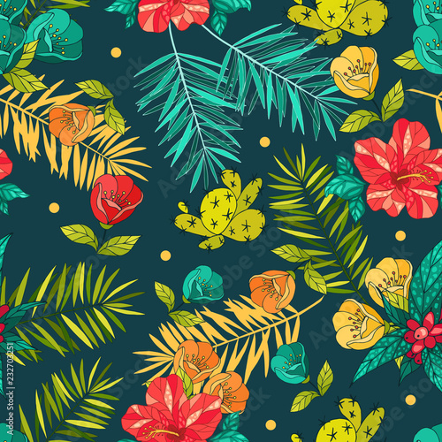 Tuinposter Vlinders Tropical flowers pattern. Vector illustration