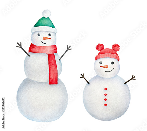 Two Happy Smiling Snowmen With Wooden Arms Funny Carrot Noses And