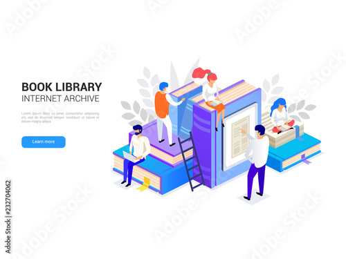 Book library isometric  Internet archive concept and digital