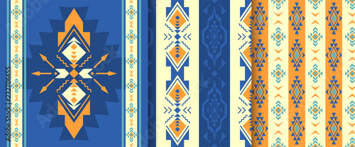 Foto auf AluDibond Boho-Stil Set of Ethnic seamless patterns. Aztec, native American Indian ornaments.