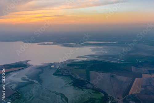 Poster Corail From the airplane window. Landscapes of the Krasnodar territory. Russia.