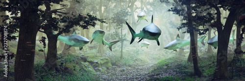 Photo sharks swimming in forest, surrealistic scene with a group of sharks flying in f