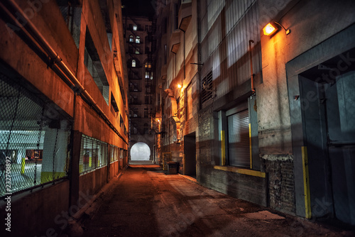 Fototapeten Schmale Gasse Dark and eerie downtown urban city alley with a loading dock nex