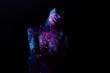 Leinwandbild Motiv Bodypainting on nude girl painted with UV colors