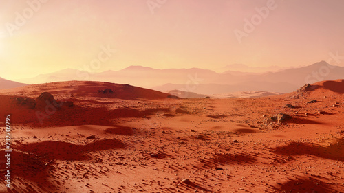 Spoed Foto op Canvas Baksteen landscape on planet Mars, scenic desert scene on the red planet (3d space render)