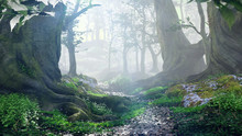 Path Through Magical Forest At Sunrise, Mysterious Old Trees, Fantasy Landscape