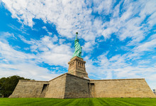 Statue Of Liberty National Monument With Blue Sky Background. New York, USA. .