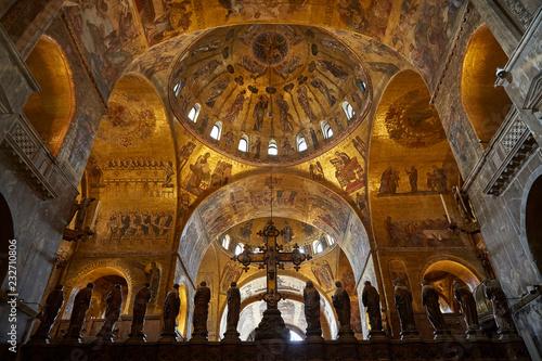 Fotografie, Obraz  venice san marco marvelous cupola gold mosaic interior