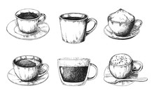 Sketch Different Mug Of Coffee On A Saucer. Vector Illustration Of A Sketch Style.