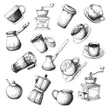 Large Coffee Set. Sketch The Different Cups Of Coffee, Coffee Pots And Other Items